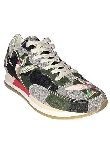 f0717410bc2c Philippe Model Damen Sneaker low Tropez Bright - Designer Sneaker aus Leder  mit Camouflage-Muster