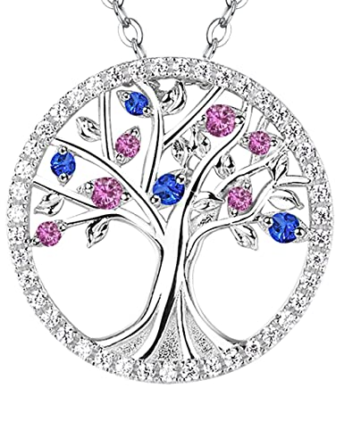 Amazon the tree of life jewelry pink blue sapphire necklace the tree of life jewelry pink blue sapphire necklace for family christmas birthday gift for aloadofball Choice Image