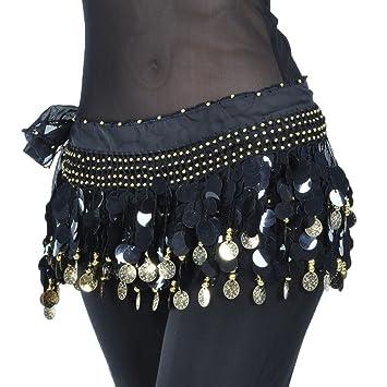 Calcifer 88 Coins Chiffon Belly Dance Belt Wrap Hip Scarf Skirt Waistband