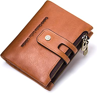 Mens Full Soft Leather Bifold Purse Wallet Zipped Note Holder Brown Black