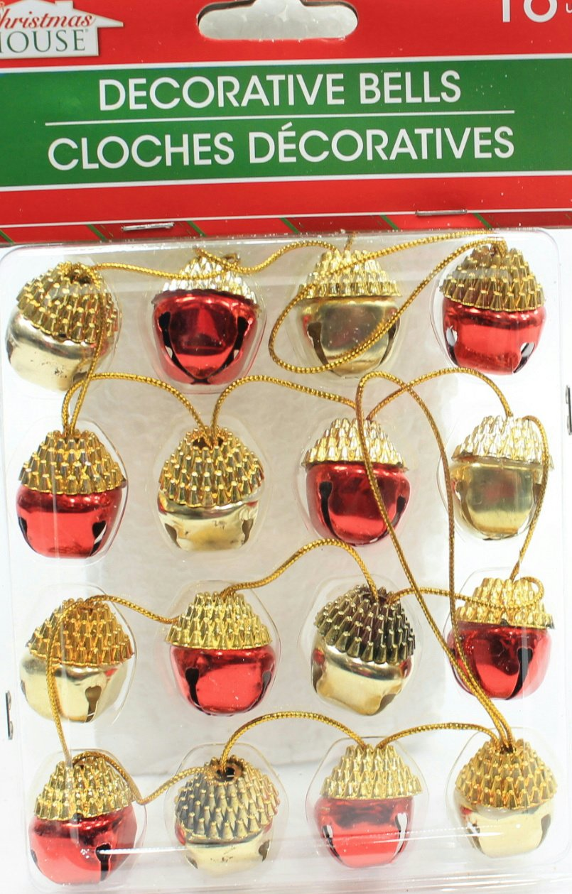 (Pack of 2) 16 Christmas House Ornament Acorn Shaped Decorative Jingle Bells (Red & Gold)