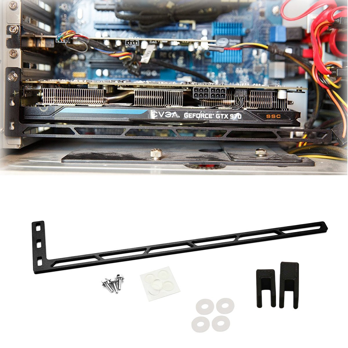 CloverTale Graphics Card GPU Brace Support, Video Card Sag Holder Bracket, Anodized Aerospace Aluminum (Upgraded Version Black)