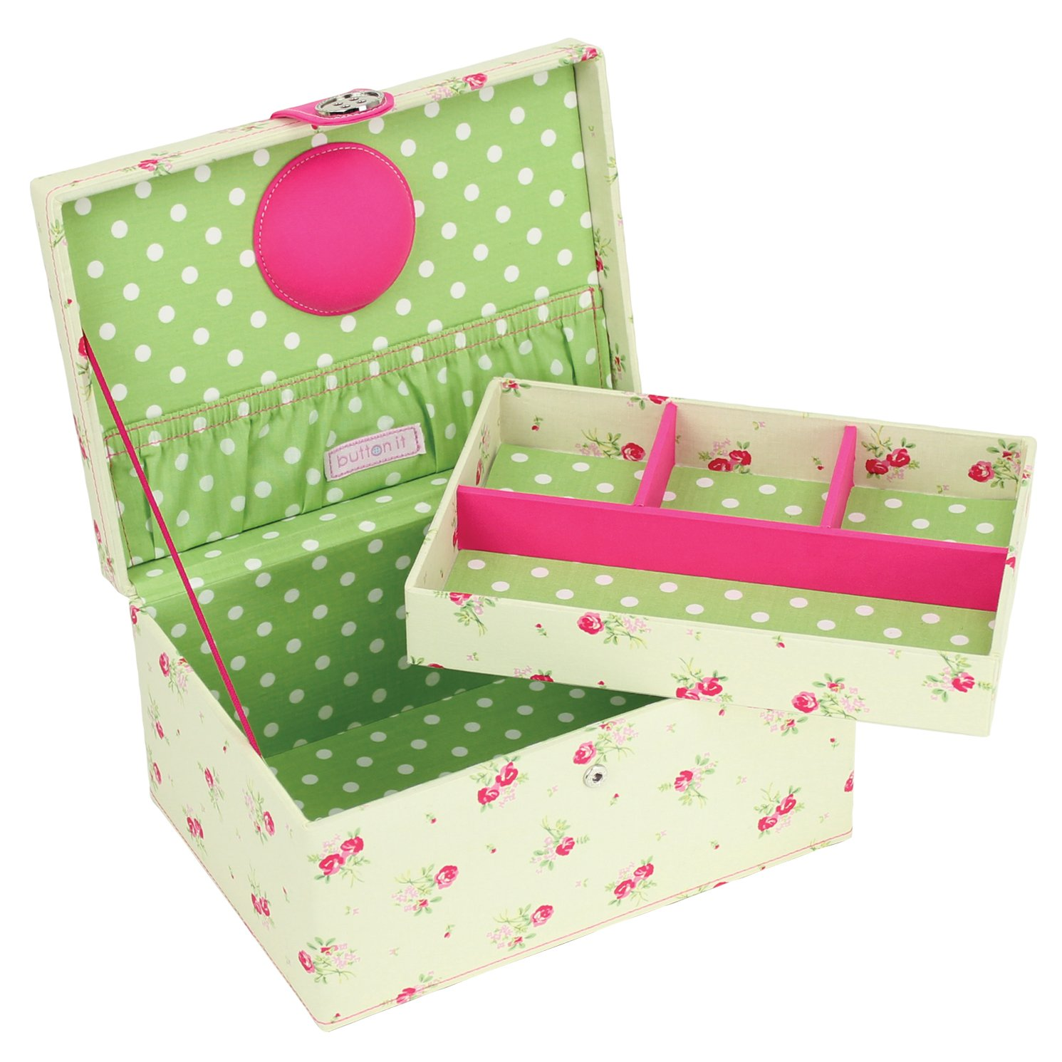 **SPECIAL OFFER 40% OFF** Button It | Country Floral | medium cream floral sewing box with green polka dot lining LC Designs 82303