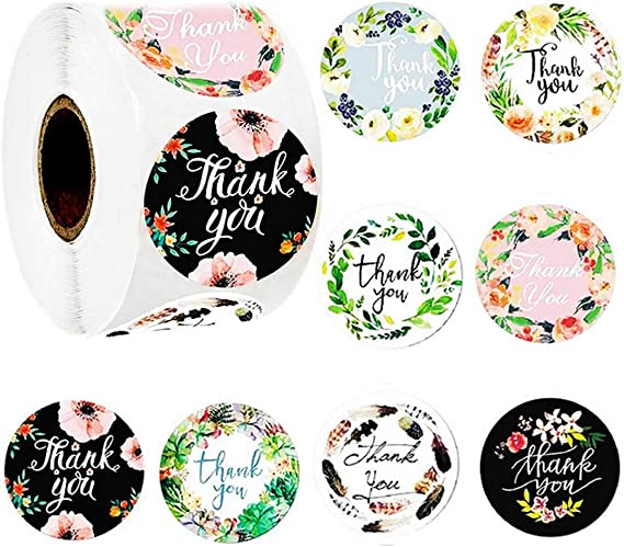 Thank You Stickers Roll of 8 Floral Designs