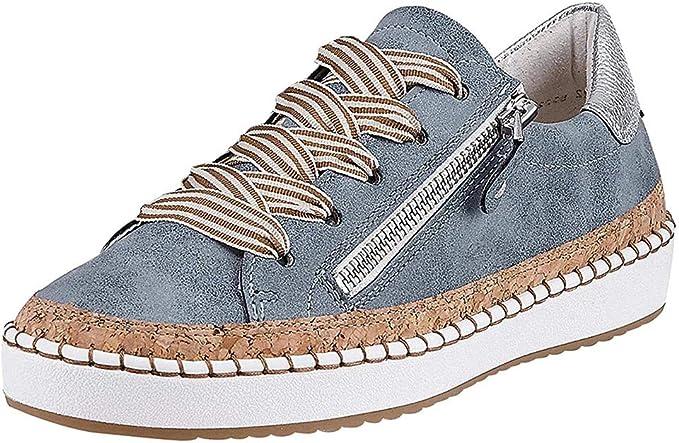 DressLksnf Mujer Planas Zapatos Moda de Cremallera Atar la Cuerda Zapatos Solos Punta Redonda Tallas Grandes Zapatillas de Casual Plana Tobillo Zapatos de Lona: Amazon.es: Ropa y accesorios
