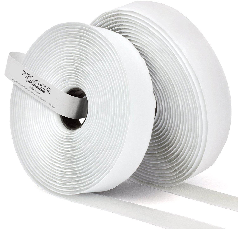 Purovi® Nastro adesivo a strappo AUTOADESIVO bianco | 5 m lunghezza x 20 mm larghezza | Resistente e versatile