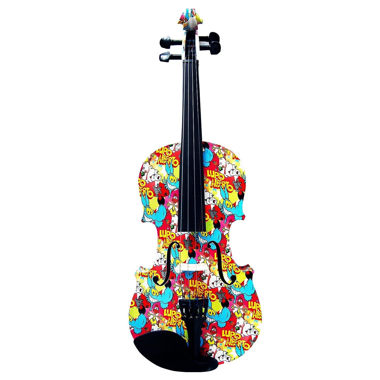 Kinglos 1/8 Dibujos Animados Colorida Madera Maciza Violín Conjunto Ébano Guarniciones - KT1405: Amazon.es: Instrumentos musicales