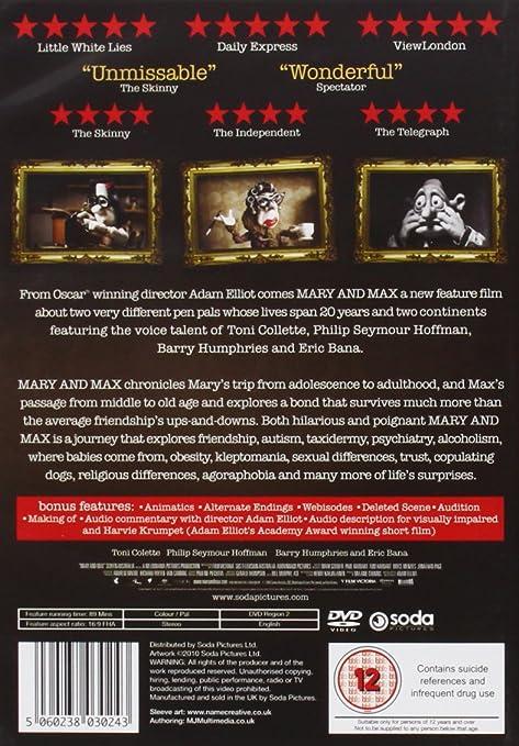 Mary Max Dvd Amazon Co Uk Toni Collette Philip Seymour Hoffman Eric Bana Toni Collette Philip Seymour Hoffman Dvd Blu Ray