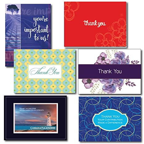 Amazon thank you greeting card assortment for business a box thank you greeting card assortment for business a box set of 5 each of 6 m4hsunfo