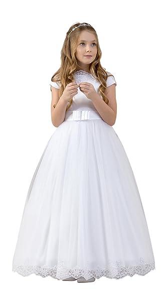 Lacey Bell Vestido Primera Comunion Dama Honor Falda de Tul Corpino de Saten CD-11