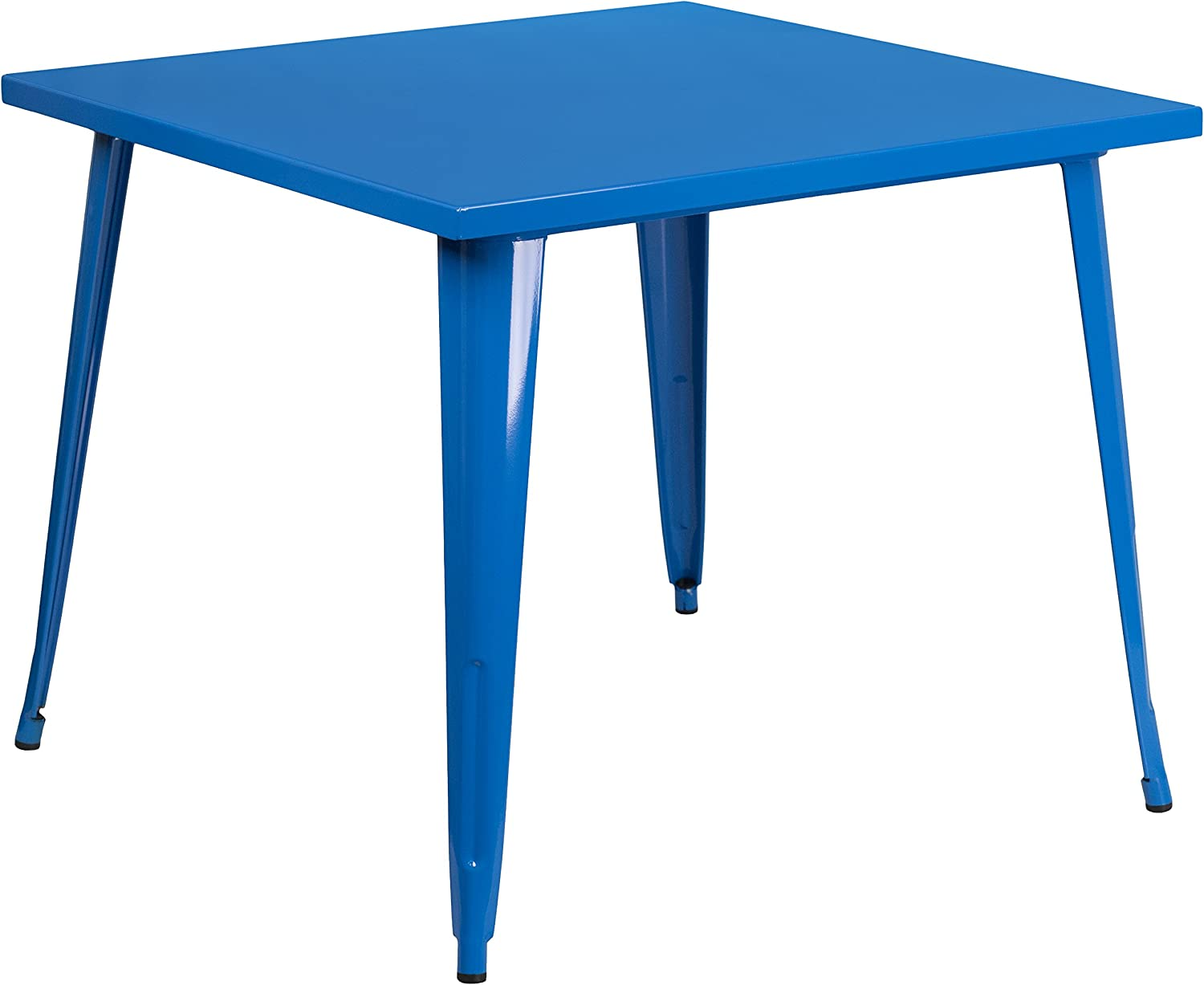 """Flash Furniture Commercial Grade 35.5"""" Square Blue Metal Indoor-Outdoor Table"""