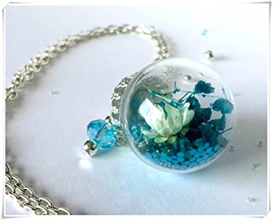 Amazon Com Terrarium Necklace Flower Jewelry Real Flower Necklace