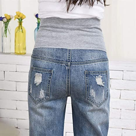 fad5068920b Amazon.com  Connia Maternity Plus Size Jeans Fall Winter Casual Loose  Ripped Damaged Destroyed Homewear Outwaer Trousers Pants  Clothing