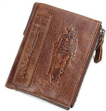 Genuine Cow Leather Men/'s Wallet Vintage Style Short Wallets Zipper Coin Purse