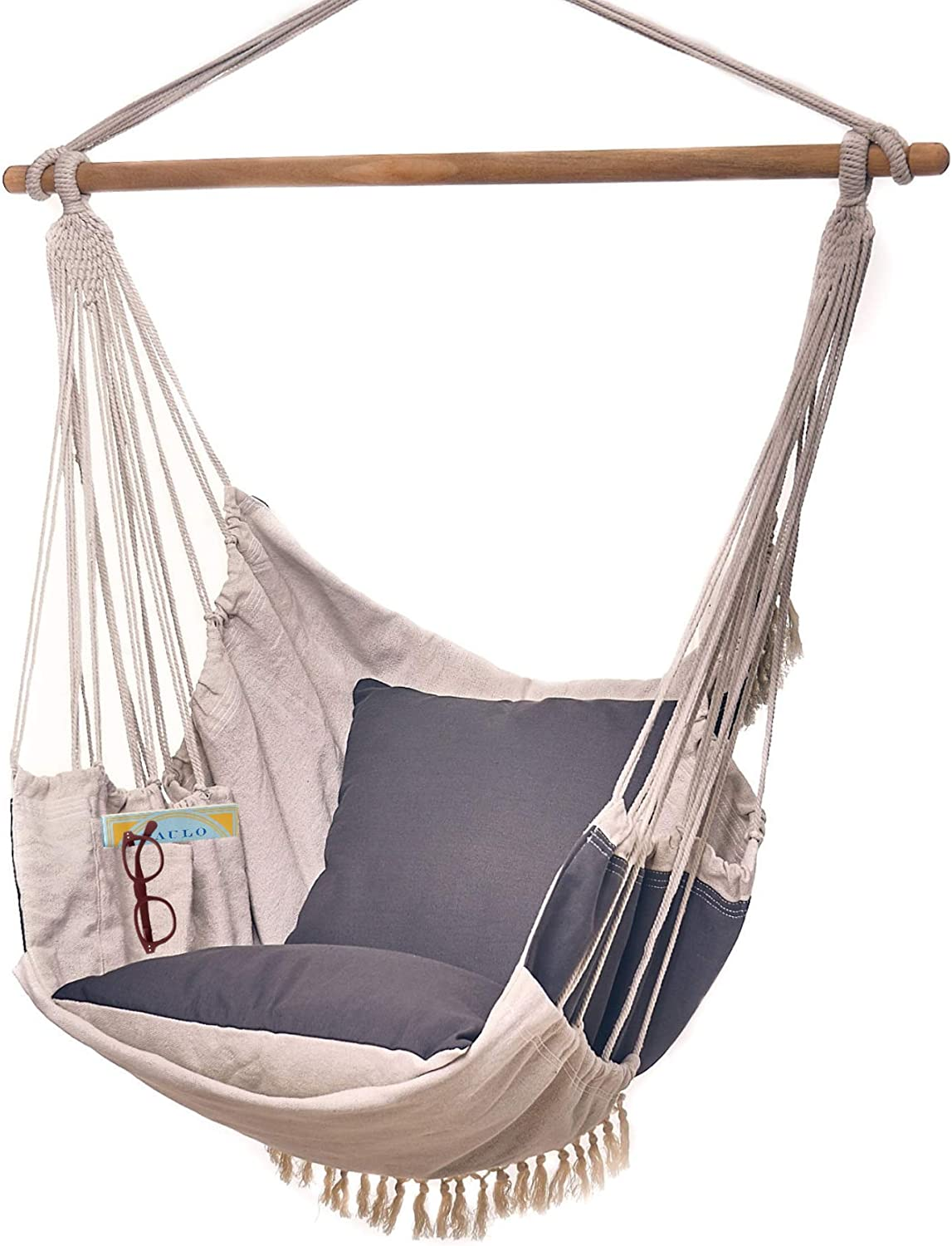 Amazon Com Bdecoru Hanging Hammock Chair Large Swing Chair Sitting And Reclining Positions 2 Layer Fabric For Extreme Durability 2 Tone Beige And Gray Plus 2 Cushions And Side Pocket Indoor Outdoor