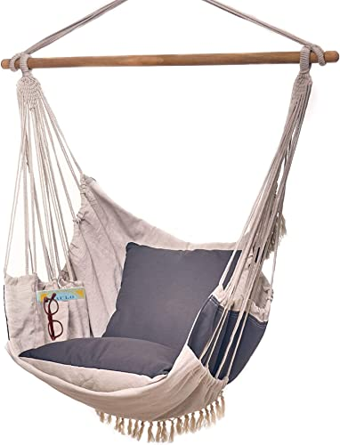 Bdecoru Hanging Hammock Chair Large Swing Chair Sitting and Reclining Positions 2-Layer Fabric for Extreme Durability 2-Tone Beige and Gray Plus 2 Cushions and Side Pocket Indoor Outdoor Use