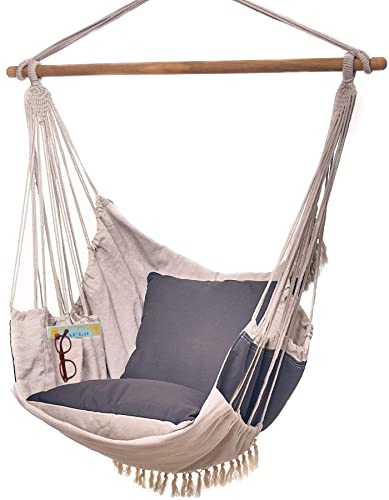 Decoru Hanging Hammock Chair Large Swing Chair Sitting and Reclining Positions 2-Layer Fabric for Extreme Durability 2-Tone Beige and Gray Plus 2 Cushions and Side Pocket Indoor Outdoor Use