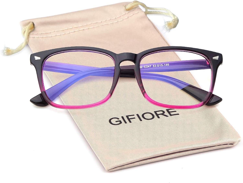GIFIORE Blue Light Blocking Glasses Women Non-Prescription Square Nerd Unisex Frame for Computer Use