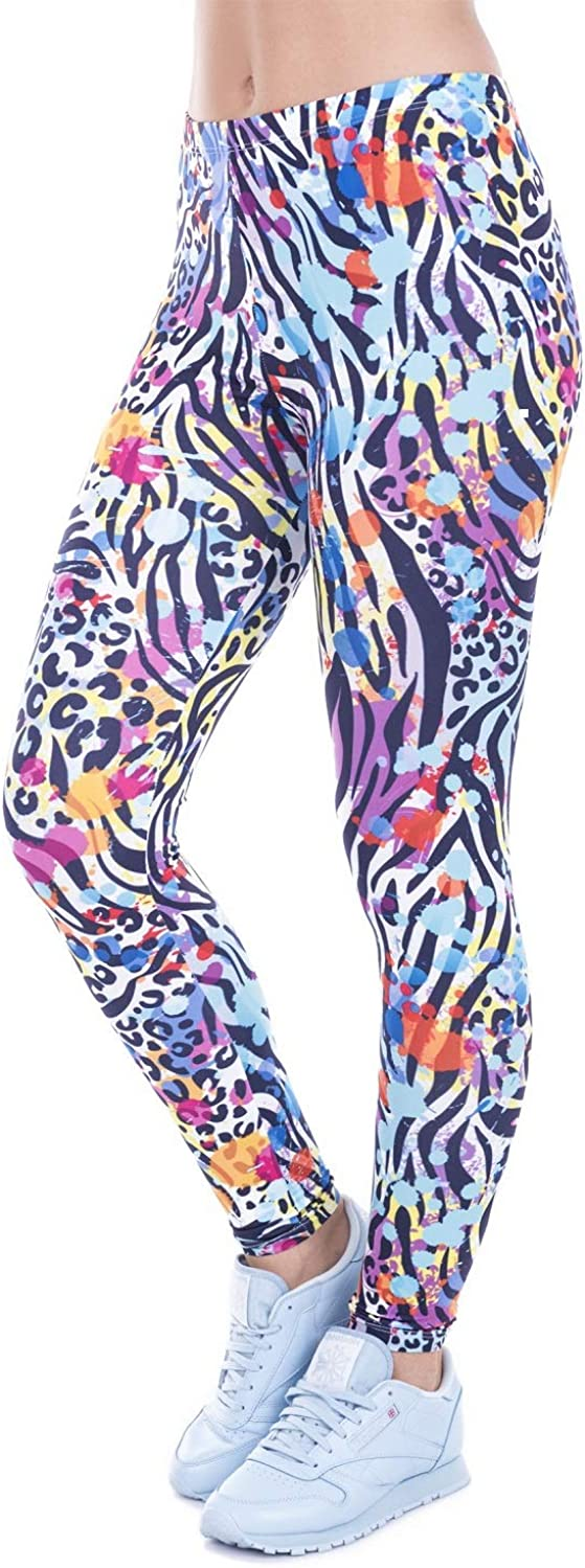 Jasfura Womens Workout Sports Yoga Leggings Printed Pants Stretchy Regular and Plus Size