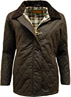 Ladies Women's High Quality wax cotton'ZARA' Wax Quilted Jacket Brown Small