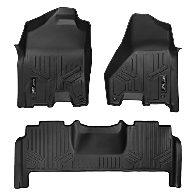 MAXLINER Floor Mats 2 Row Liner Set Black for 2012-2020 RAM 2500/3500 Mega Cab W/Dual Front Hooks: Automotive