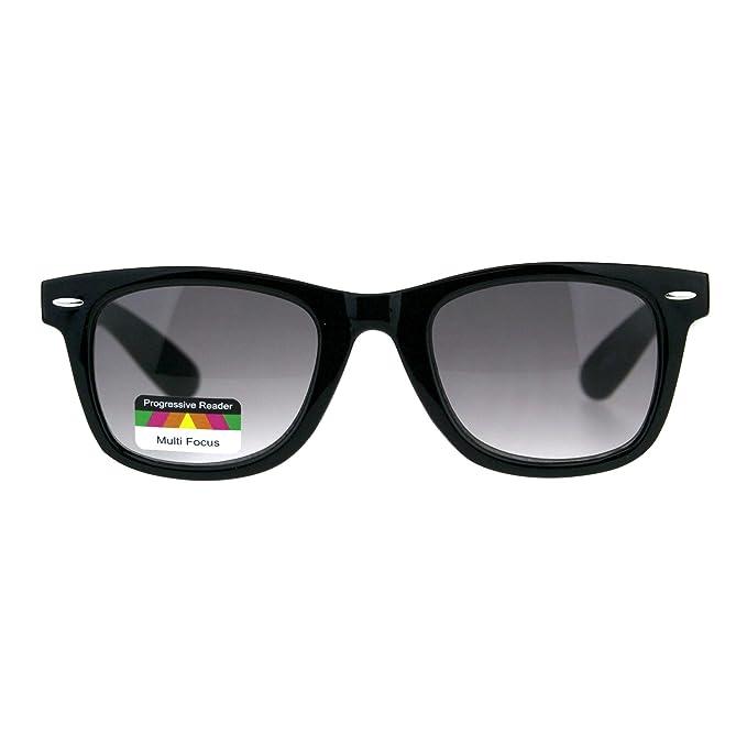 c9e9f80be89 Retro Horn Rim Multi 3 Focus Progressive Sun Reader Sunglasses Black Smoke  1.5