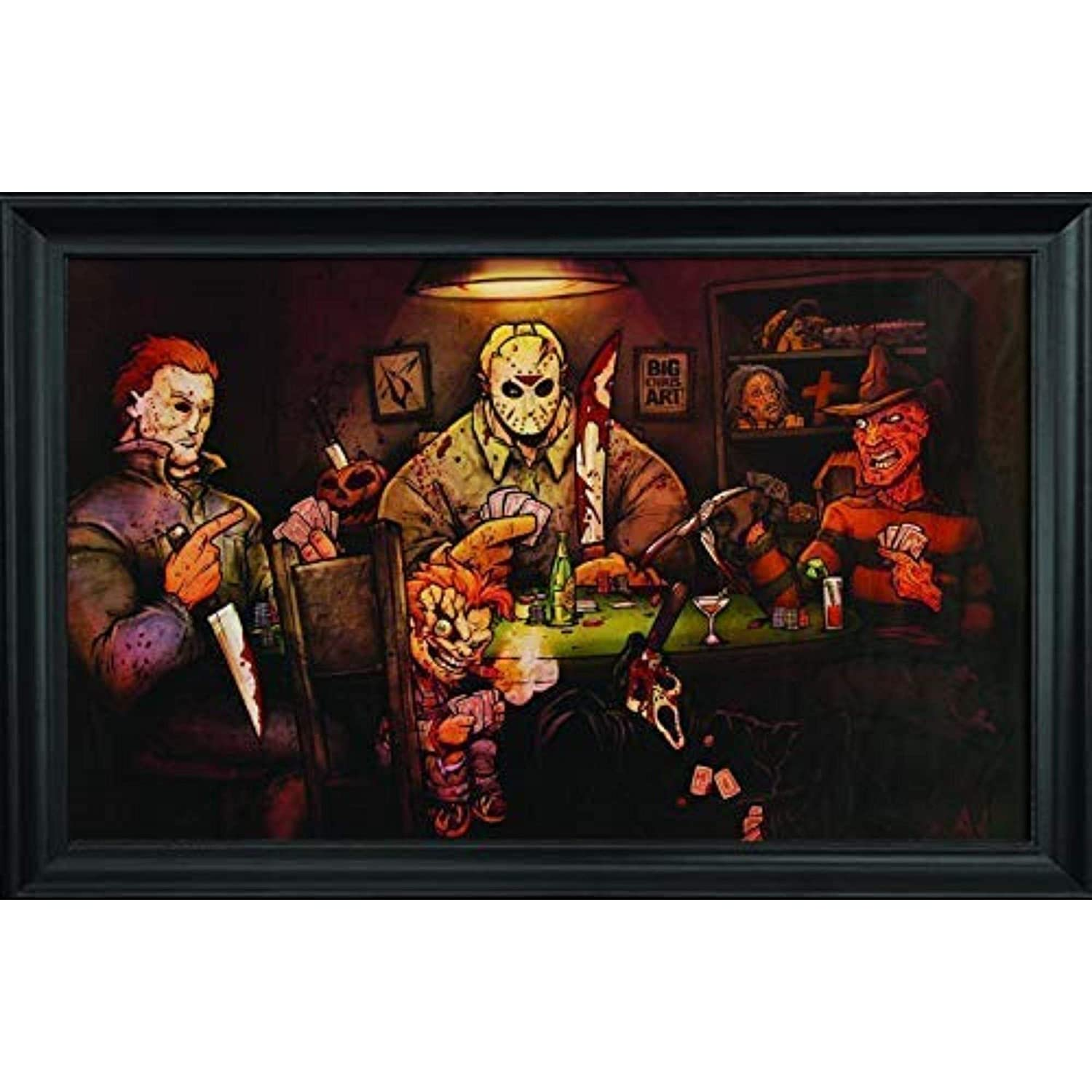 Slashers Poker Wall Art Textured Print Framed - Jason Voorhees, Freddy Krueger, Michael Myers, Chucky & Scream Poster - Scary Horror Movie Wall Art – 36x24 – Cool Unique Décor Painting by Big Chris
