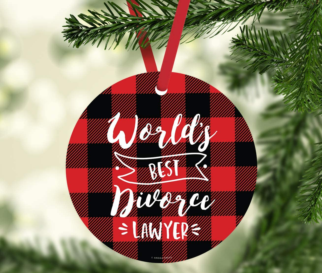 Amazon Com Andaz Press Round Mdf Natural Wood Christmas Tree Ornament Funny Divorce Gift World S Best Divorce Lawyer 1 Pack Divorced Friend Gift Ideas Kitchen Dining