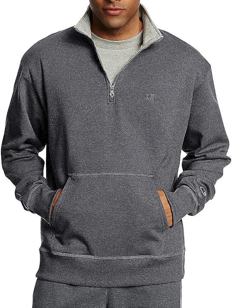 Champion Mens Powerblend Fleece 1//4 Zip Pullover/_Granite Heather