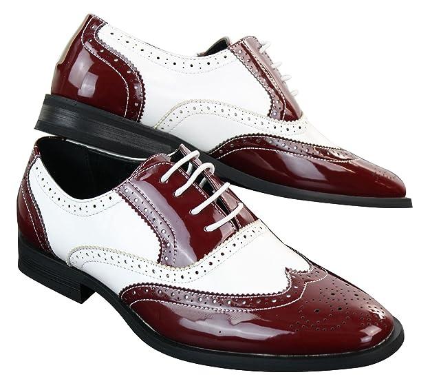 a152131243fb Chaussures homme cuir PU verni brillant style brogues Gatsby années 20 en  noir rouge blanc: Amazon.fr: Chaussures et Sacs