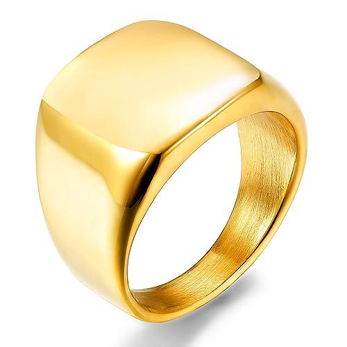 sailimue Acero Inoxidable Anillos Hombre Porta Anillos Boda Compromiso Para Hombres Color Oro