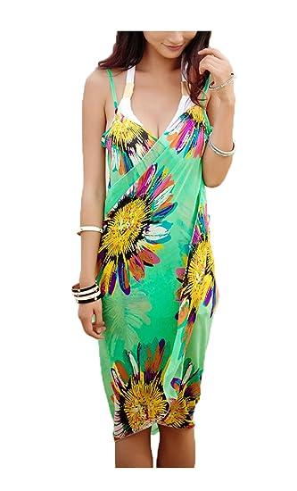 82086635d6b27 BJAC Women's Chiffon Sarong Floral Bikini Beach Scarf Dress (Mint Green,  Free Size): Amazon.in: Clothing & Accessories