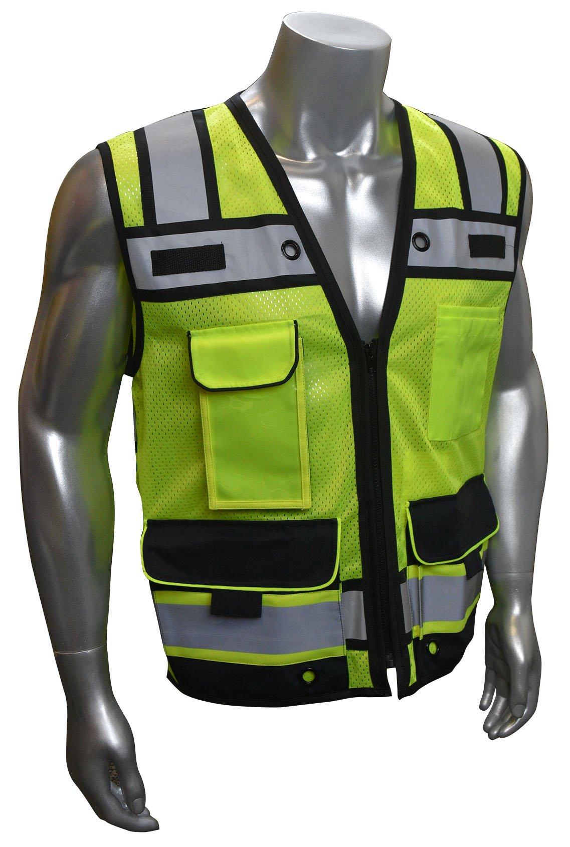 Radians SV65-2ZGM-S Surveyors Safety Vest, Hi-Viz Green, Small
