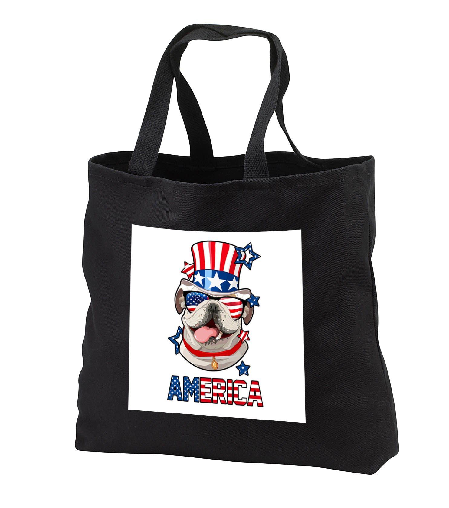 Patriotic American Dogs - English Bulldog With American Flag Sunglasses and Tophat Dog America - Tote Bags - Black Tote Bag JUMBO 20w x 15h x 5d (tb_284228_3)