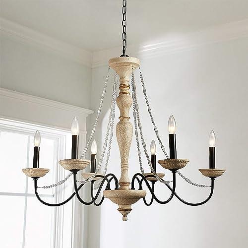 Saint Mossi Vintage Persian White Bronze Farmhouse Chandelier Lighting LED Ceiling Light Fixture Pendant Lamp