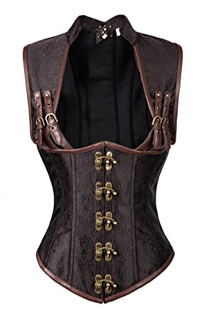 66e8a7bfeb4 Charmian Women s Steampunk Steel Boned Gothic Vintage Brocade Underbust  Corset Vest Brown Small