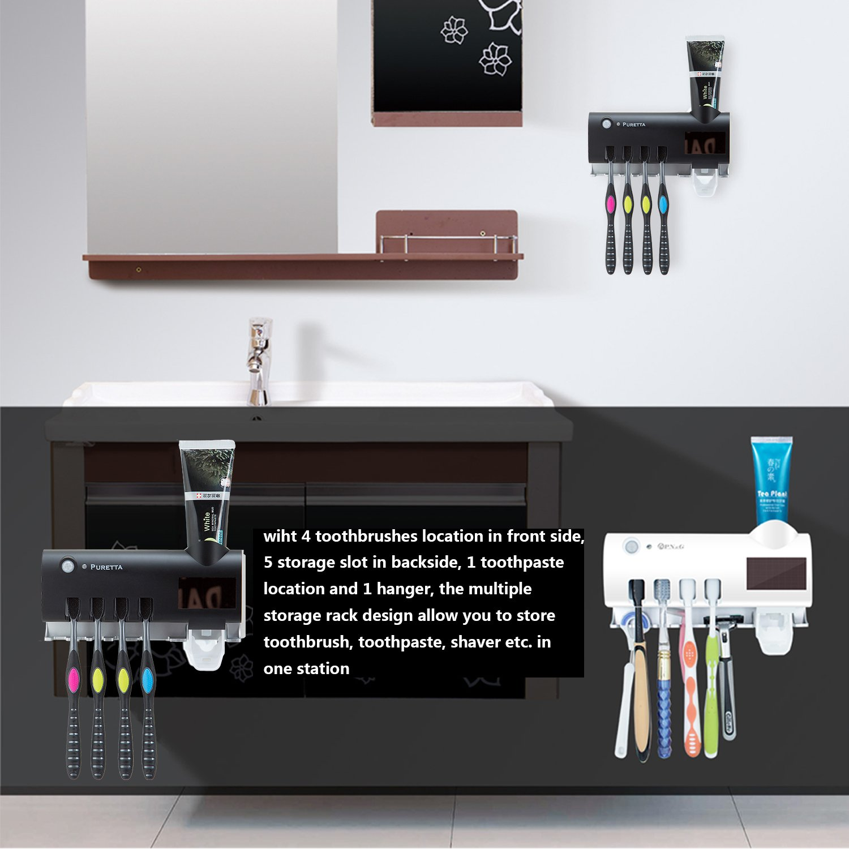 blanco Esterilizador de Pared Multifuncional Puretta con Dispensador de Crema dental Esterilizador UV con Cepillo de Dientes con Cinta de 3M
