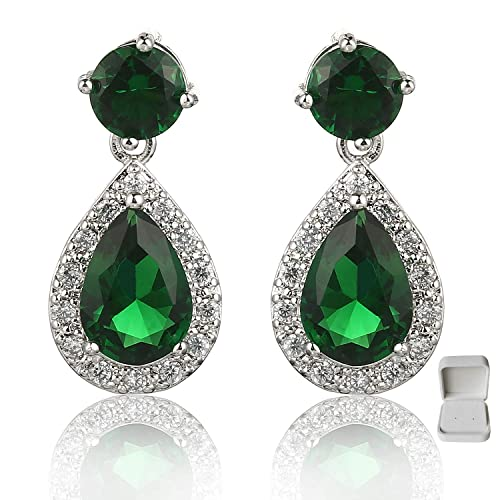 2f09ddbe7 Meyome Teardrop Zirconia Earrings Emerald Color Crystal Wedding Bridal  Earrings in Platinum White Gold Plated (