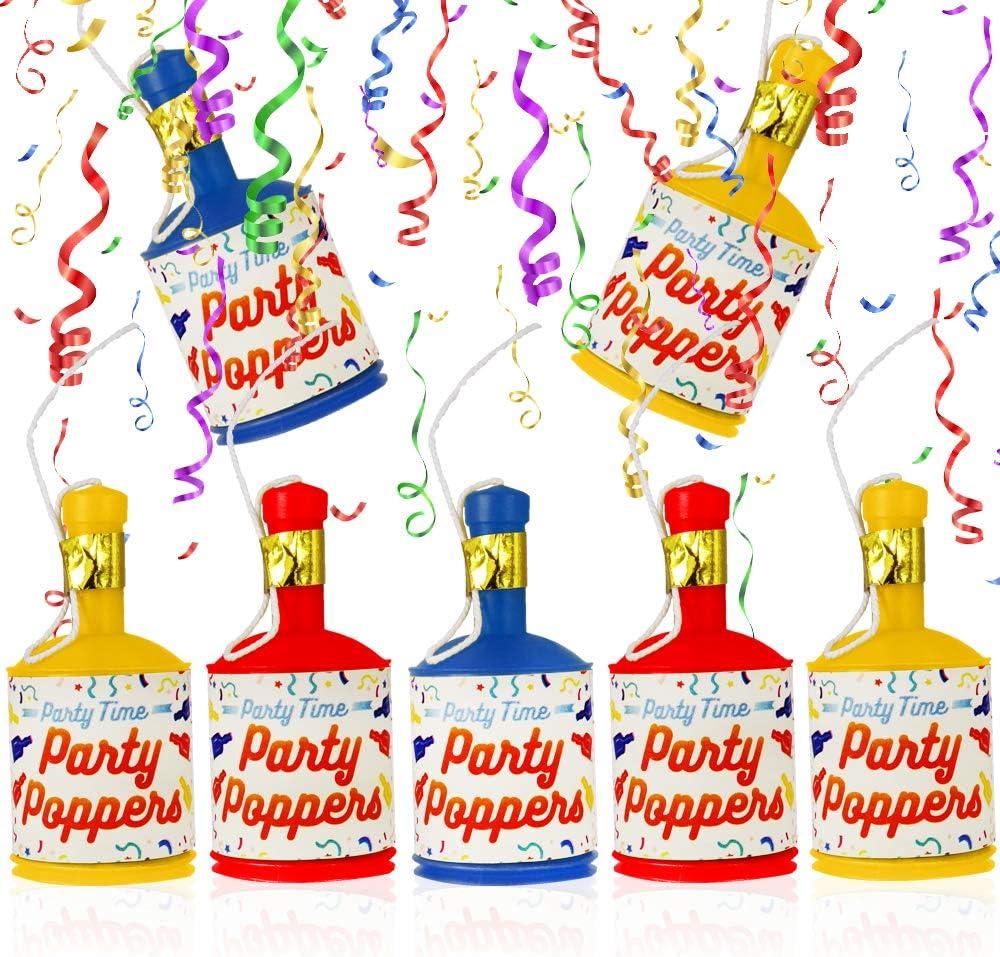 Bunte Luftschlangen ┃ 6 Partypopper German Trendseller/® 6 x Party Knaller Set Effekt┃ Partykracher Kindergeburtstag ┃ Party Shooter