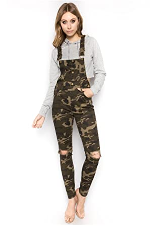 78b3b32cb60 TwiinSisters Women s Button Up Knee Cut Slim Fitted Skinny Overalls with Comfort  Stretch