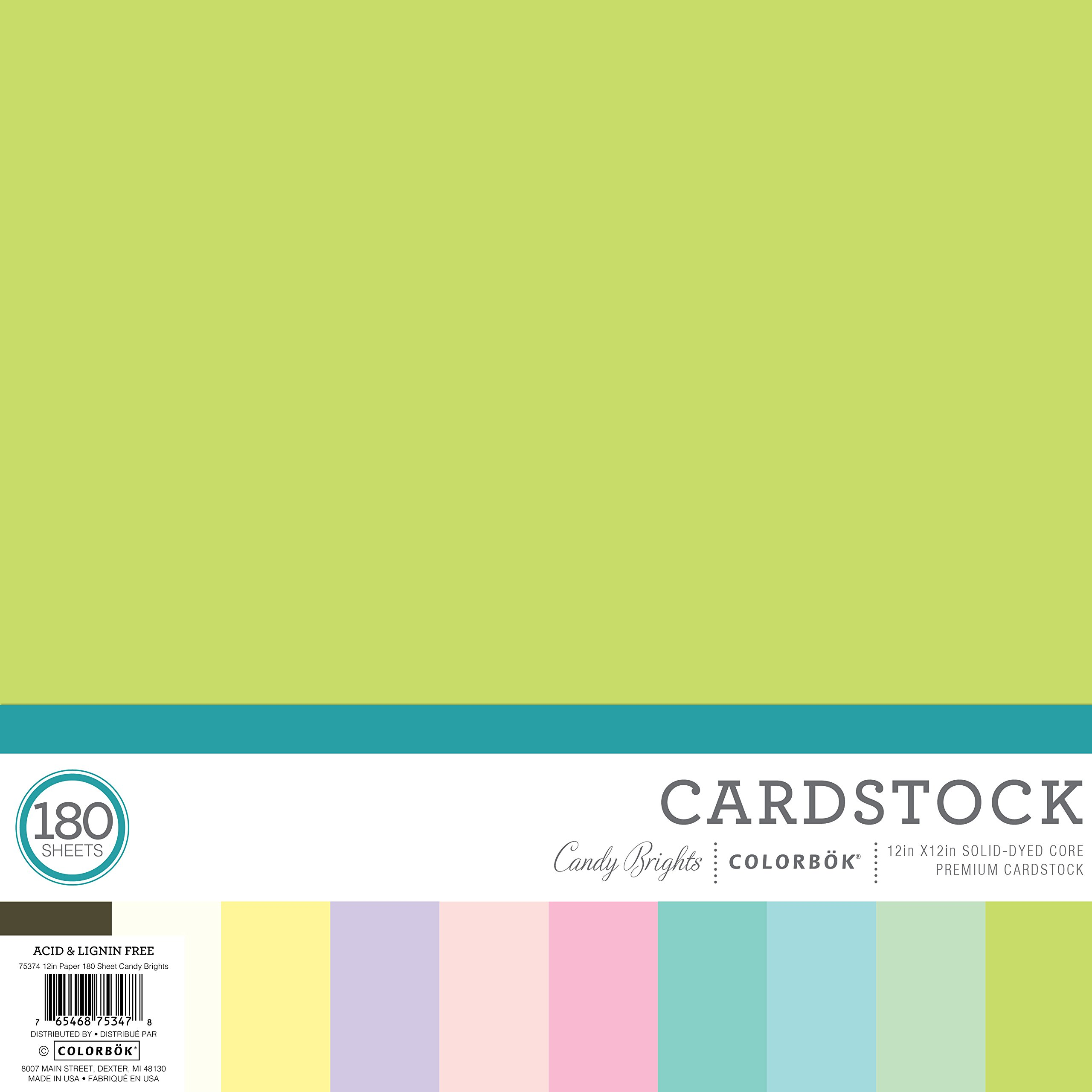 Colorbok 75347 Mega Paper Pack, Candy Bright, 12'' x 12''