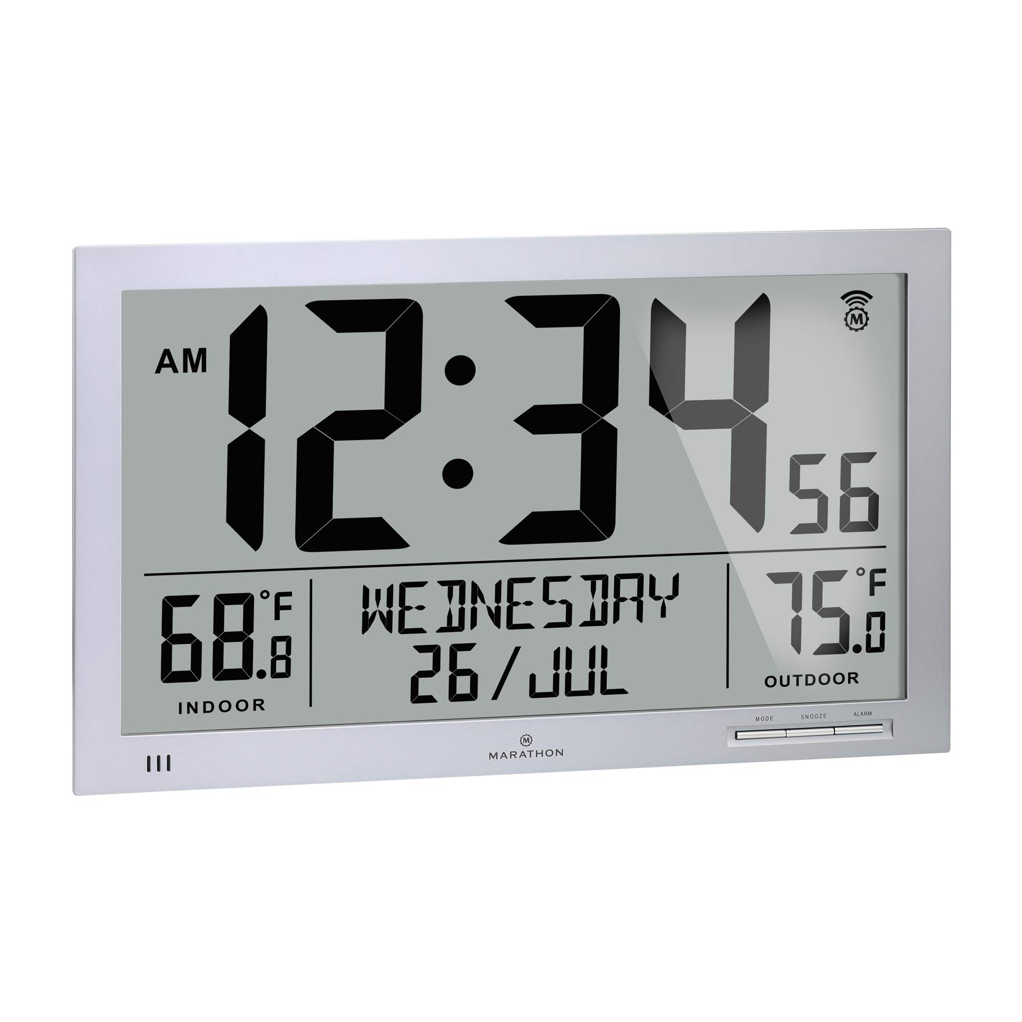 Marathon Slim Atomic Full Calendar Wall Clock with Indoor/Outdoor Temperature. Extra Long 4.5 Inch Digits. Comes with External Probe for Refrigerators - CL030066GG (Graphite Grey)