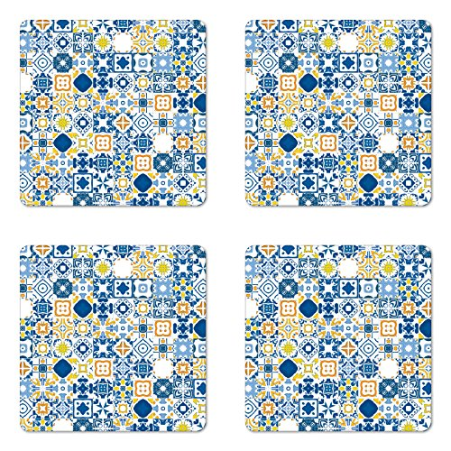 Ambesonne Yellow and Blue Coaster Set of Four, Mosaic Portuguese Azulejo Mediterranean Arabesque Effect, Square Hardboard Gloss Coasters for Drinks, Violet Blue Mustard White