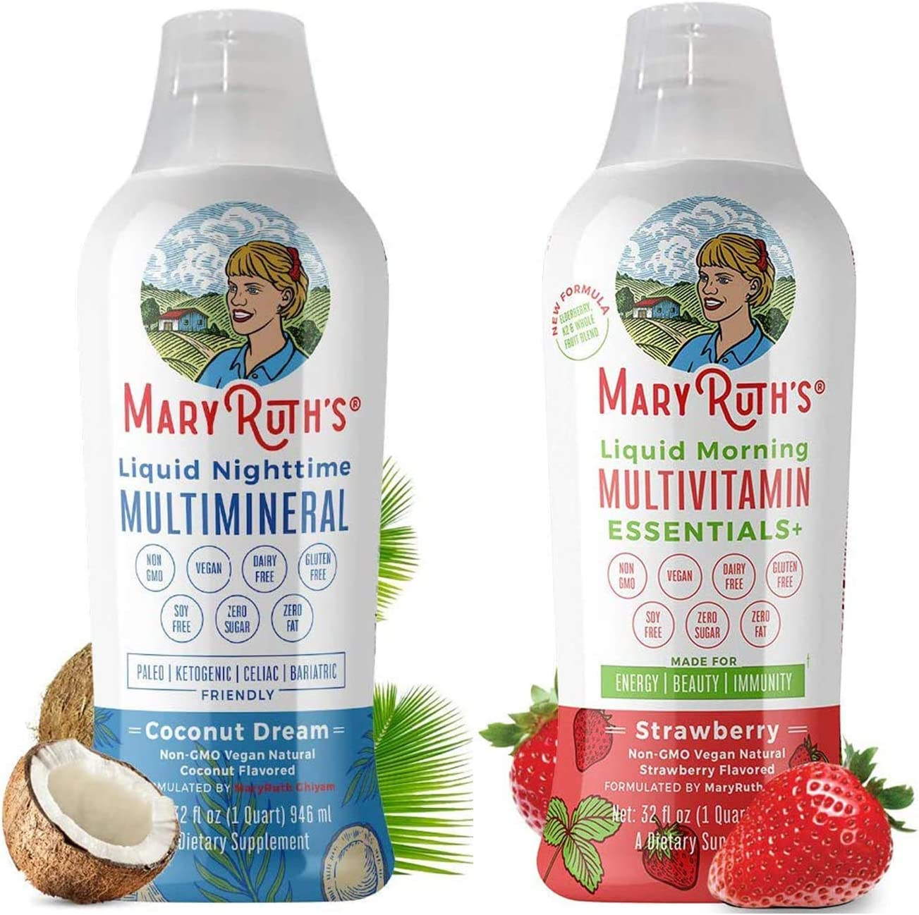 Liquid Sleep Multimineral & Morning Liquid Multivitamin Bundle by MaryRuth's | Liquid Sleep Multimineral (Coconut), 32oz | Morning Liquid Multivitamin (Strawberry), 32oz | Vegan, Non-GMO, Gluten Free