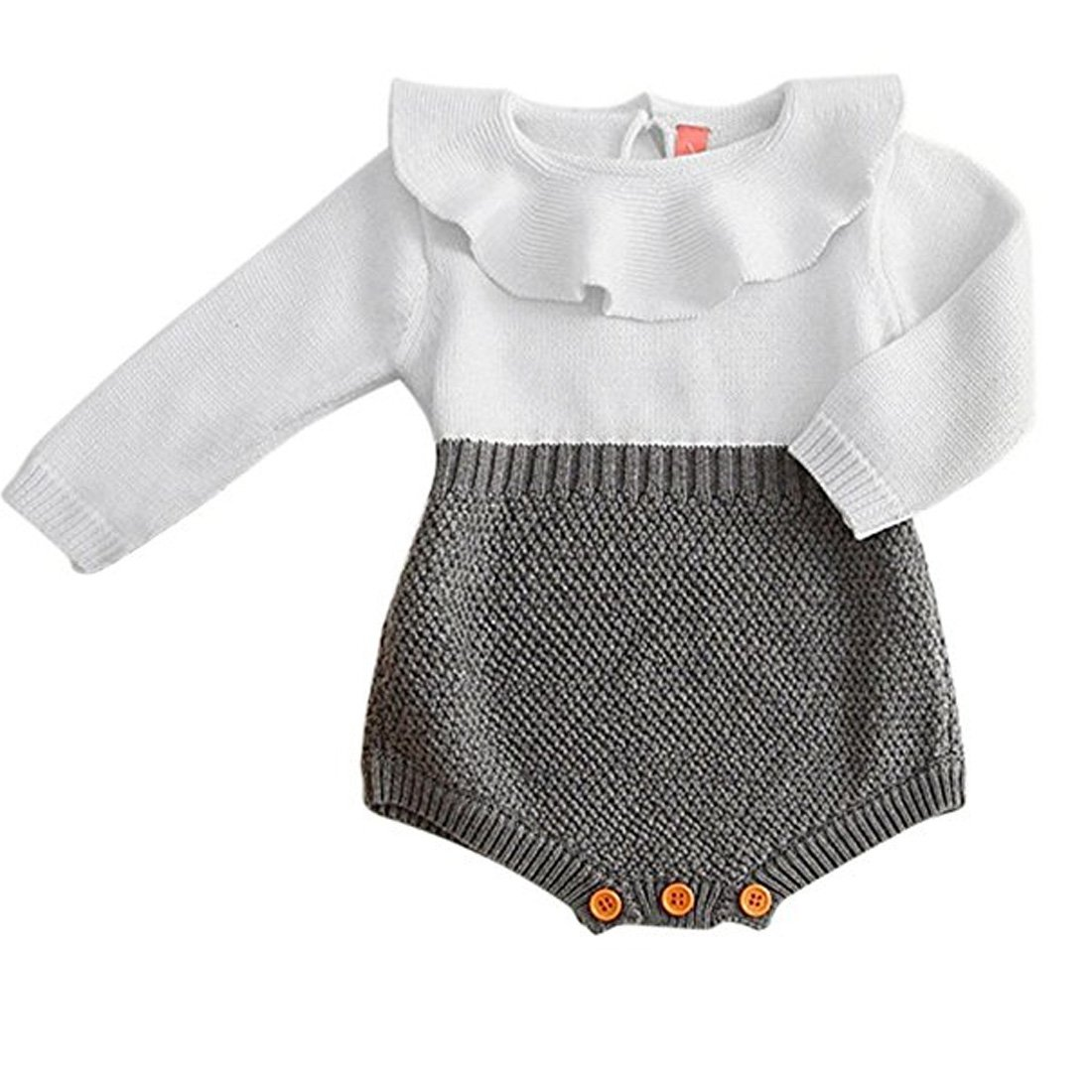 ddd06f9cc Amazon.com: HAPPYMA Toddler Baby Girl Knitted Doll Collar Long Sleeve  Bodysuit Romper Jumpsuit Outfits Autumn Winter Casual Clothing (9-12  Months) Gray: ...