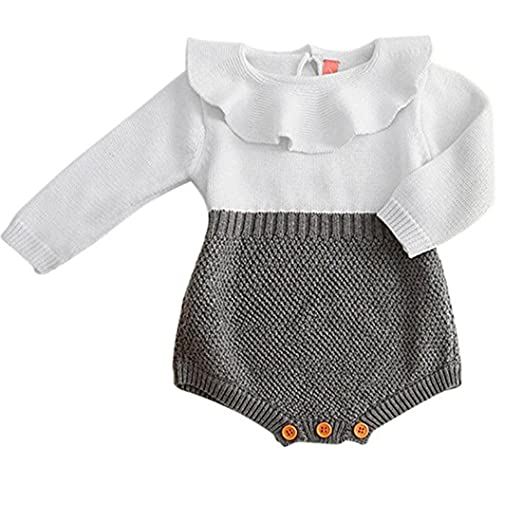4d126ea23913 Amazon.com  HappyMA Toddler Baby Girl Romper Knitted Ruffle Doll ...
