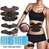 Abdominal Muscle Toner with LCD Display, USB Rechargeable Abdominal Toning Belt Muscle Training Gear ABS Stimulator Trainer Workout Equipment Machine Fat Burners for Abdomen/Arm/Leg/Stomach Men Women