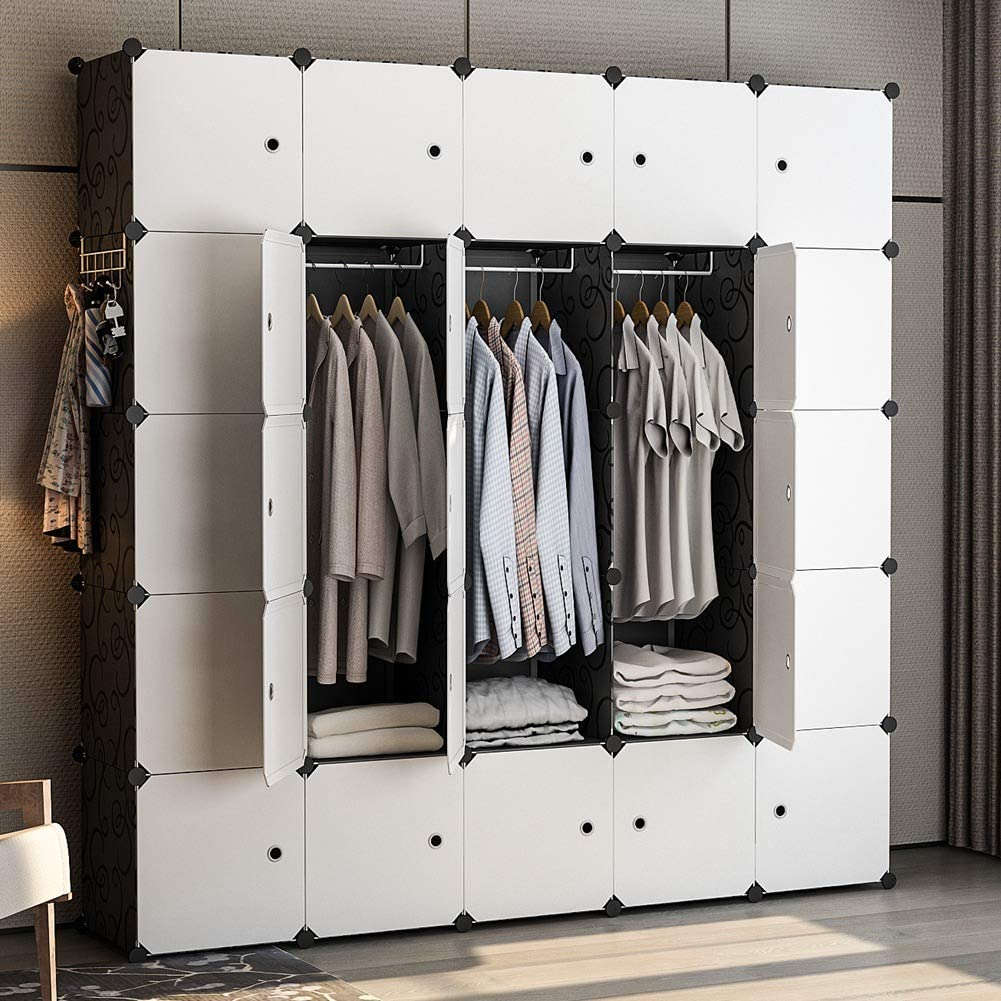 YOZO Clothes Wardrobe Portable Modular Closet Dresser Garment Rack Polyresin Storage Organizer Bedroom Armoire Cubby Shelving Unit Multifunction Cabinet DIY Furniture, Black, 25 Cubes