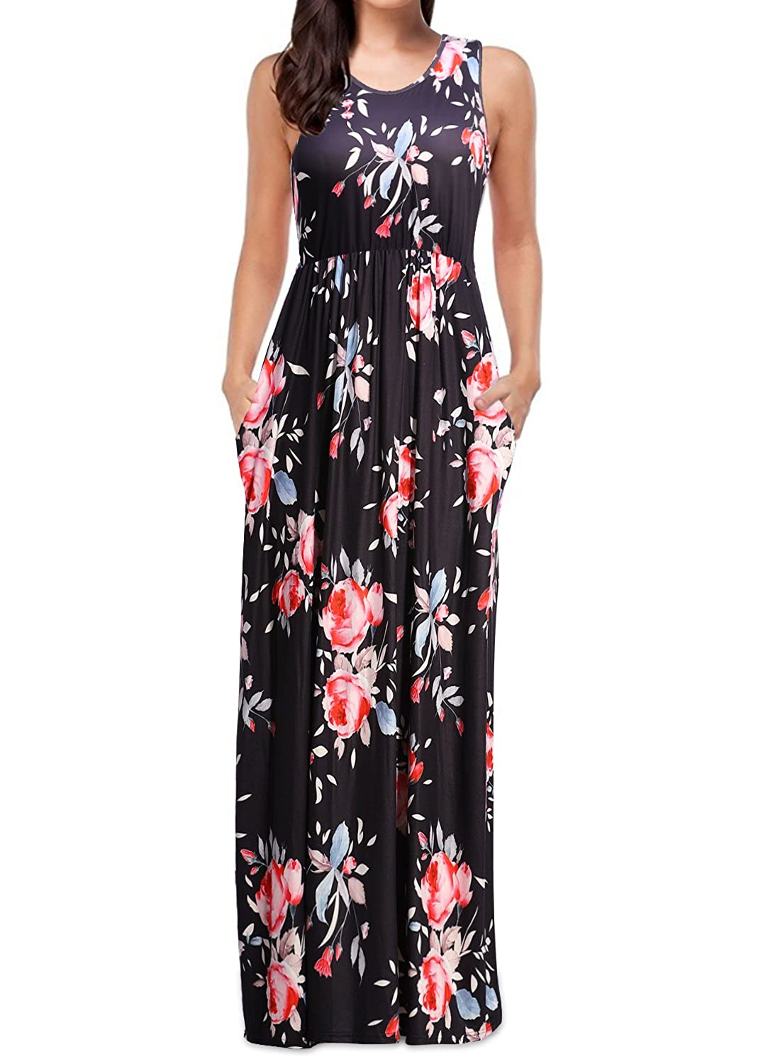 489c463f1e4 Features  gorgeous floral print maxi dress with sleeveless tank top