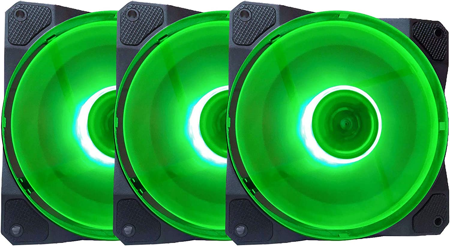 APEVIA CO312L-GN Cosmos 120mm Green LED Ultra Silent Case Fan w/ 16 LEDs & Anti-Vibration Rubber Pads (3 Pk)